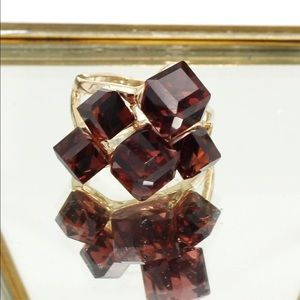 Ocean Fashion Jewelry - Brown square crystal golden ring
